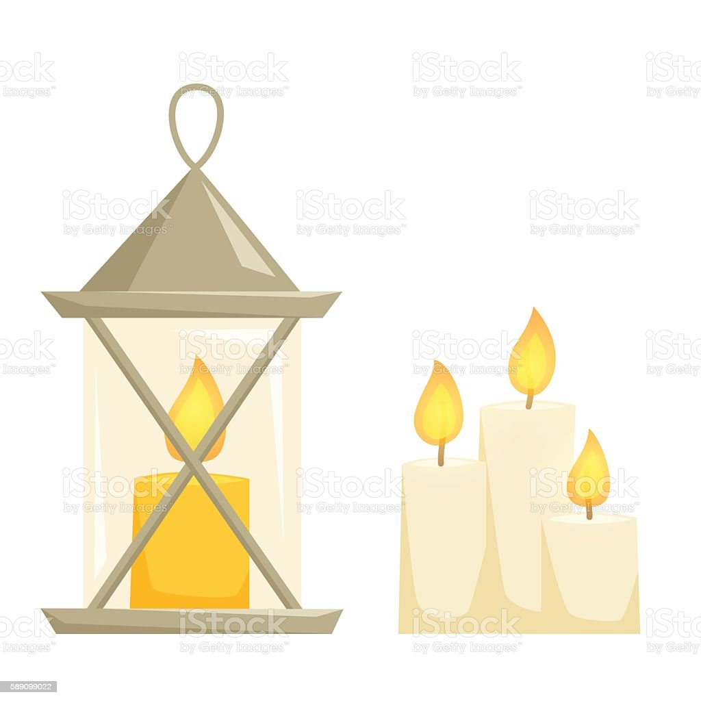 Candele and candle latern vector art illustration