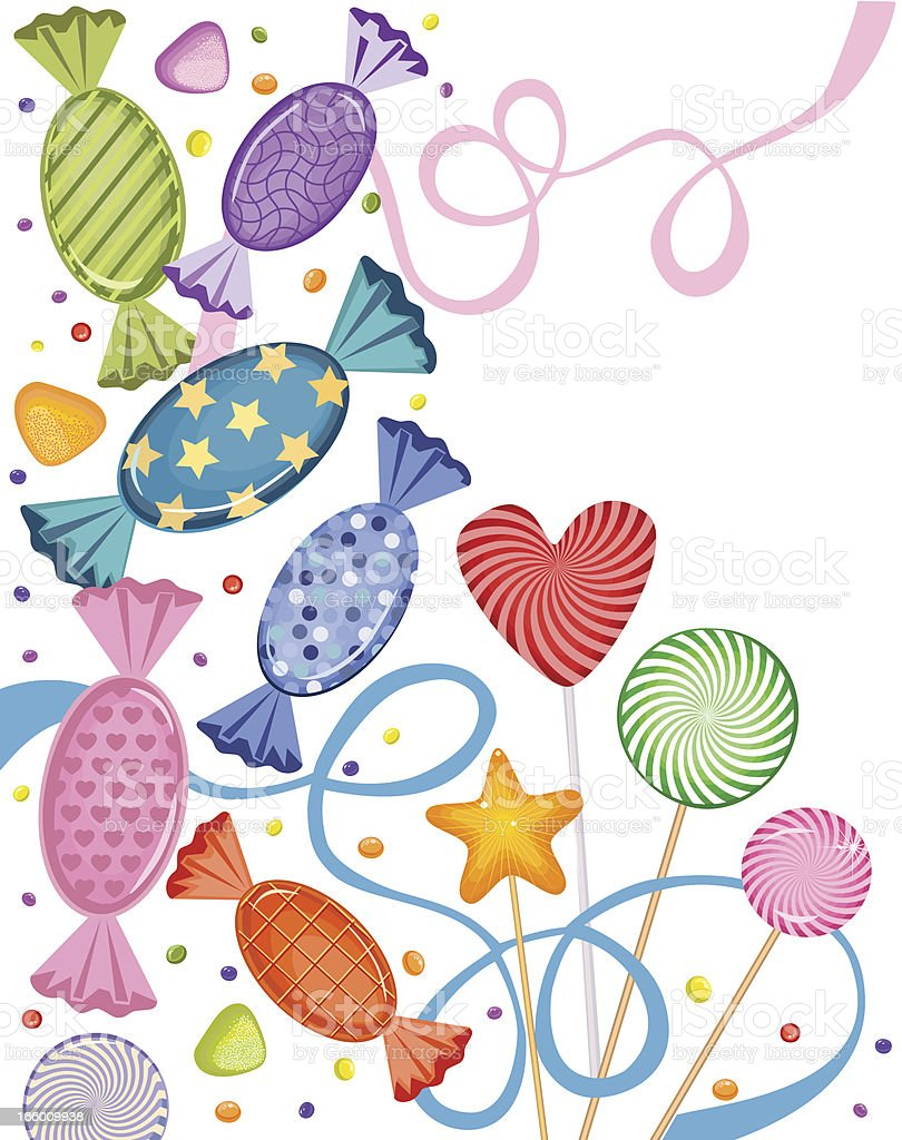 Candies, Lollipops, Marmalade And Bubble Gum vector art illustration