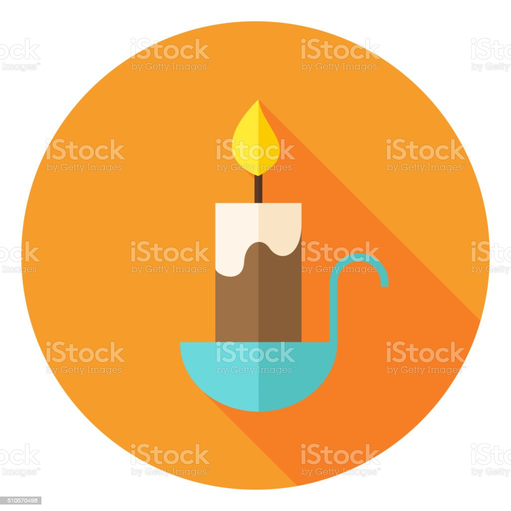 Candle Circle Icon with long Shadow vector art illustration