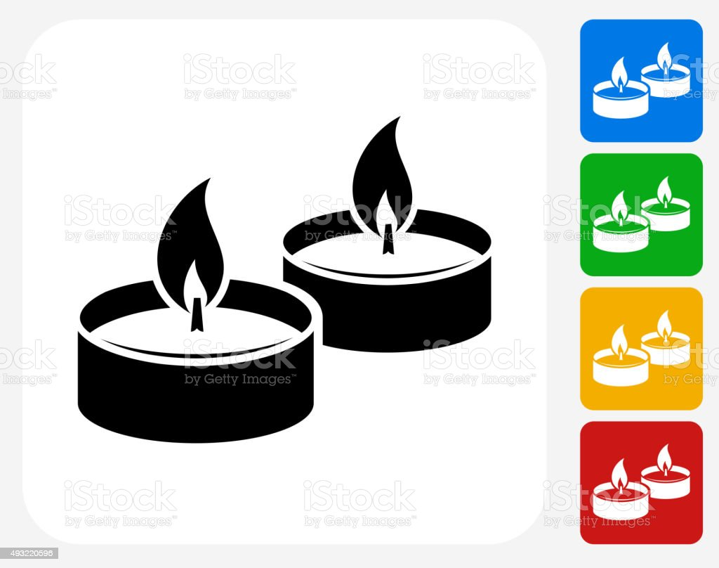Candle Fire Icon Flat Graphic Design vector art illustration