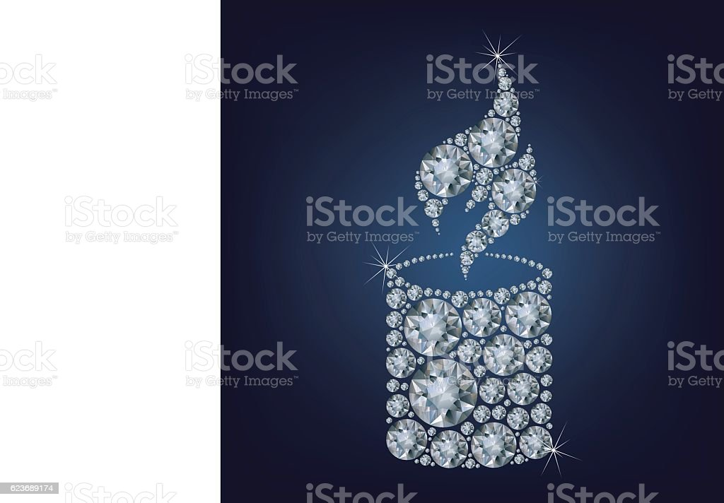 Candle flame light made a lot of diamonds vector art illustration