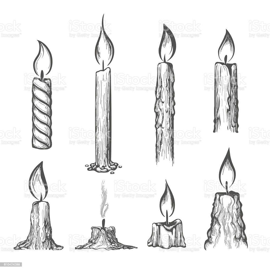 Candle hand drawn set vector art illustration
