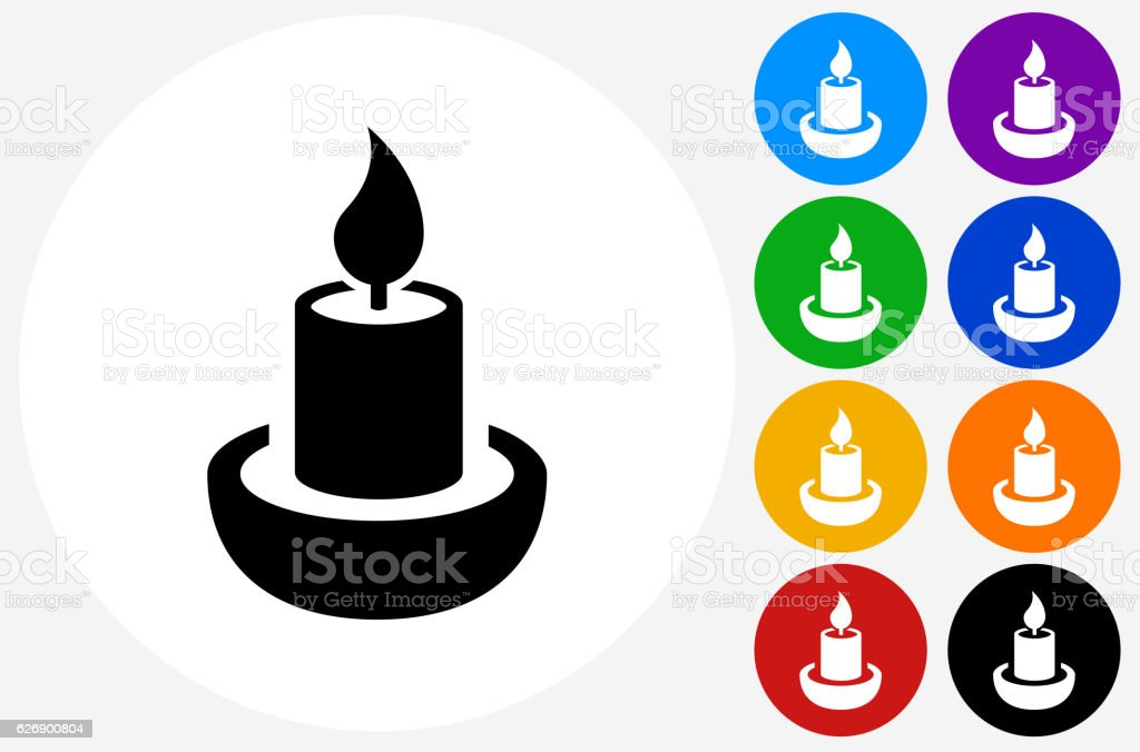 Candle Icon on Flat Color Circle Buttons vector art illustration