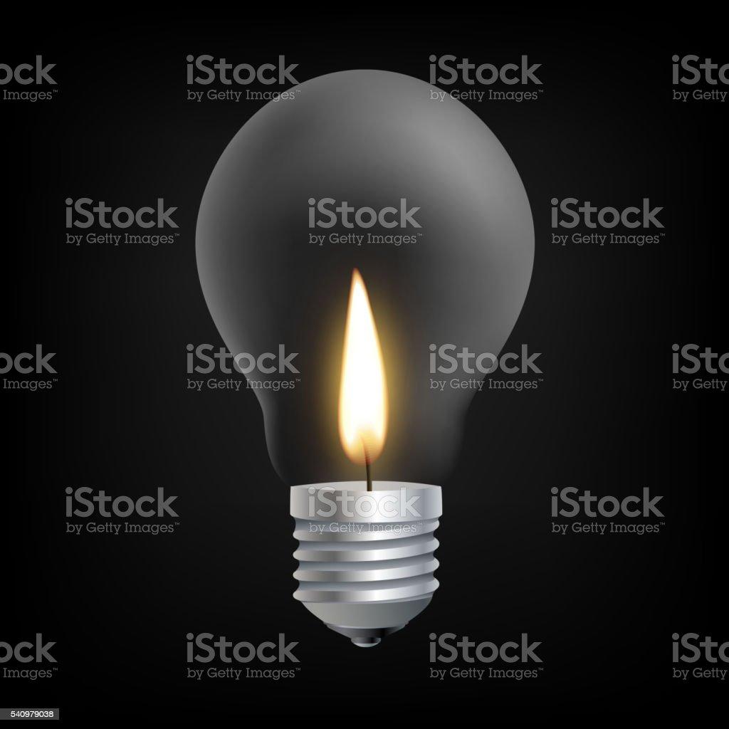Candle light in Incandescent Light bulb concept vector art illustration