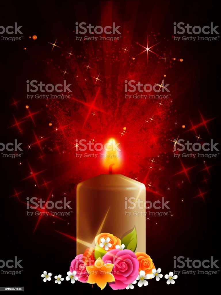 Candle Light with Flowers royalty-free stock vector art