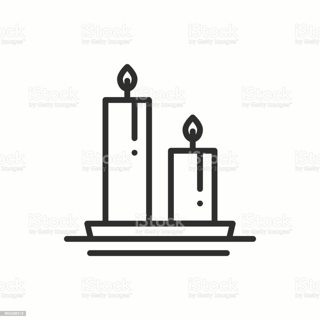 Candle line outline icon. Two burning candles with a bright flame. Light burn wax. Vector simple linear design. Illustration. Flat symbols, sign. Thin element vector art illustration