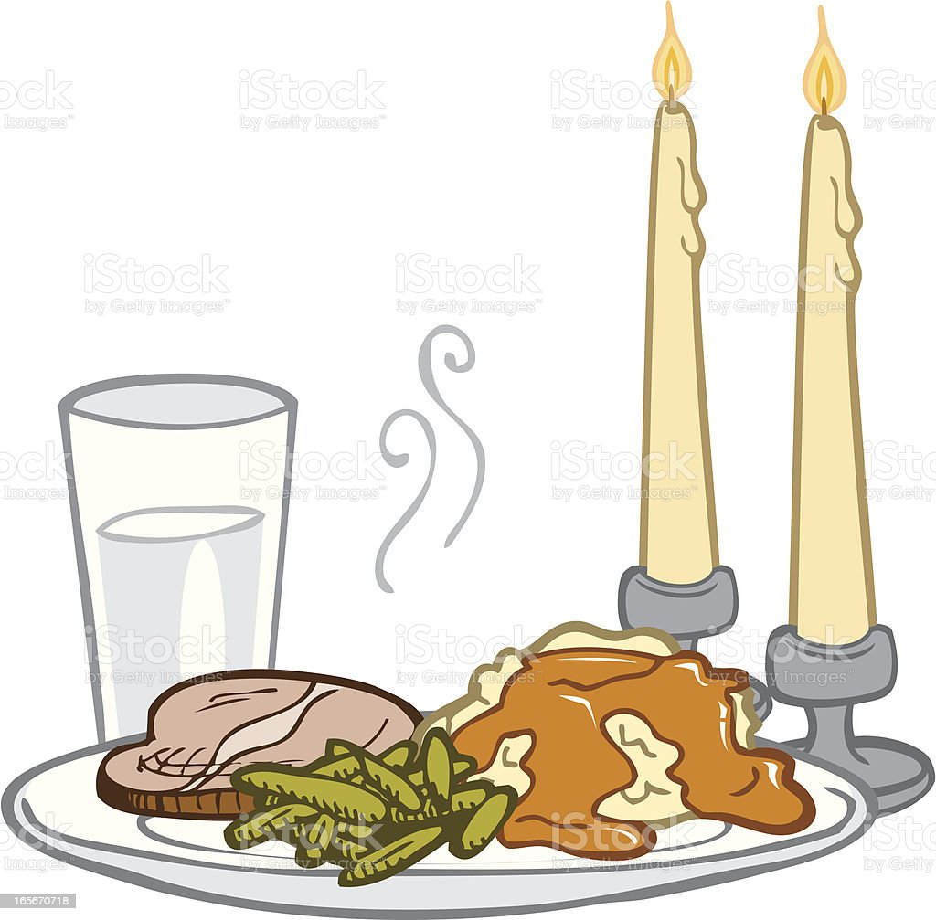 Candle Lit Dinner royalty-free stock vector art
