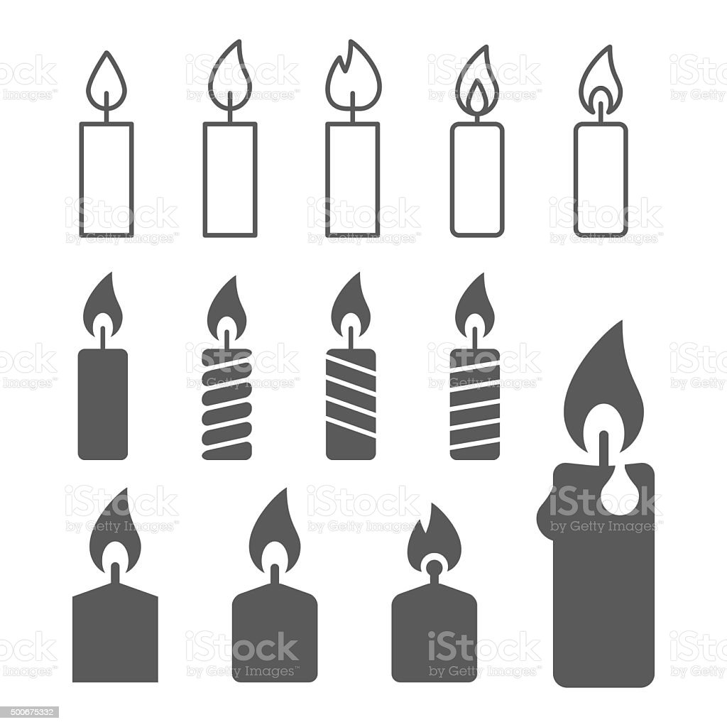 candle silhouettes on the white background vector art illustration