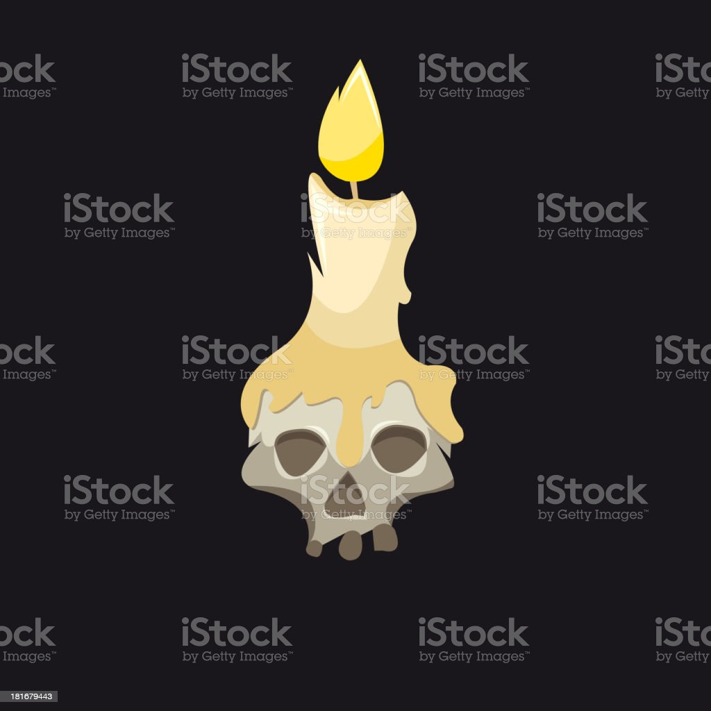 Candle with a skull isolated on black royalty-free stock vector art