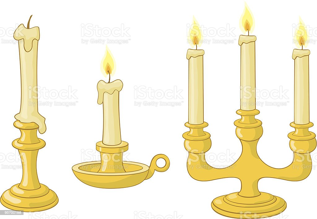 Candles and candlesticks vector art illustration