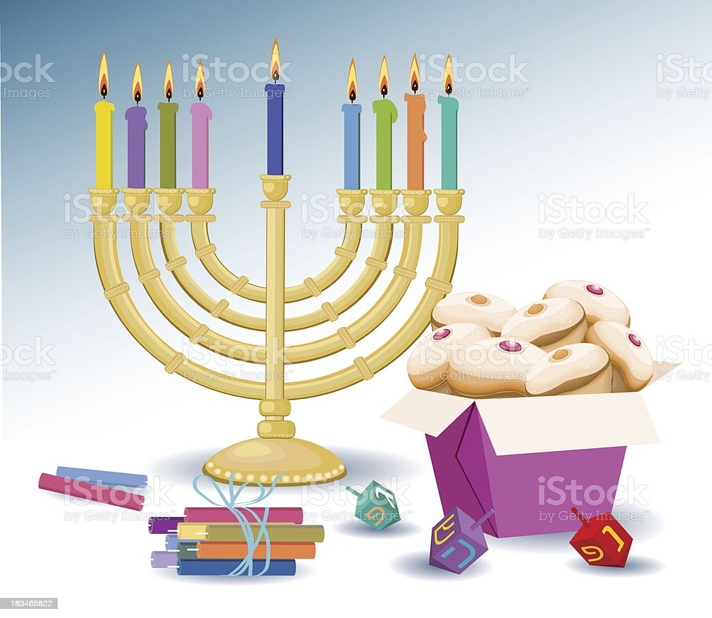 Candles, Hanukkah , Box With Donuts,  And Spinning Tops - Illustration royalty-free stock vector art