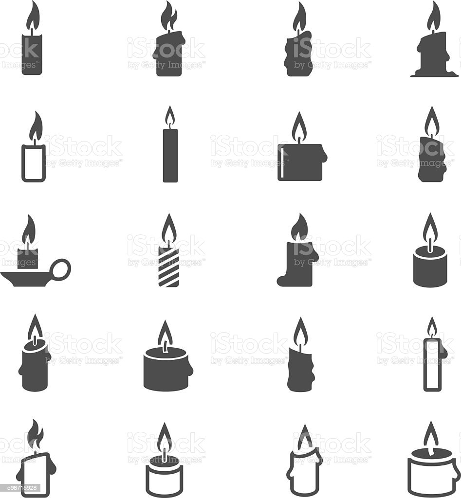 Candles icon set vector art illustration
