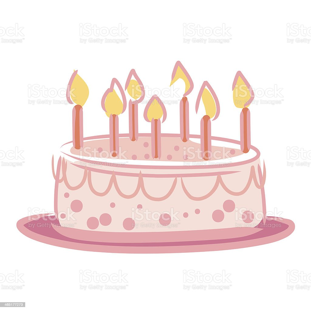 Candles on Cake Pink color. royalty-free stock vector art