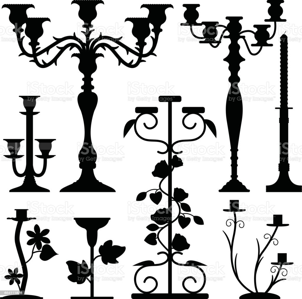 Candlestick Holder Home Decoration Silhouette Vector vector art illustration