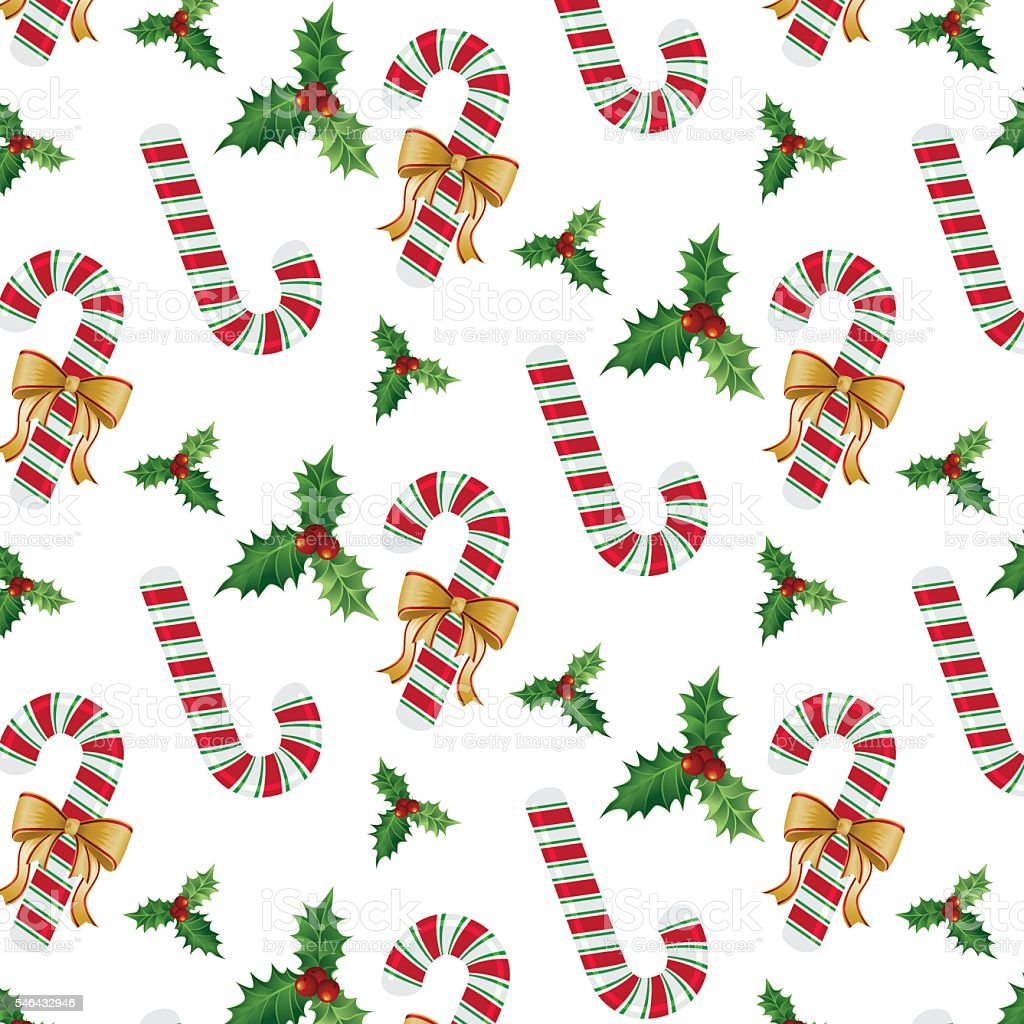 Candy Cane and Holly Mistletoe Seamless Pattern vector art illustration
