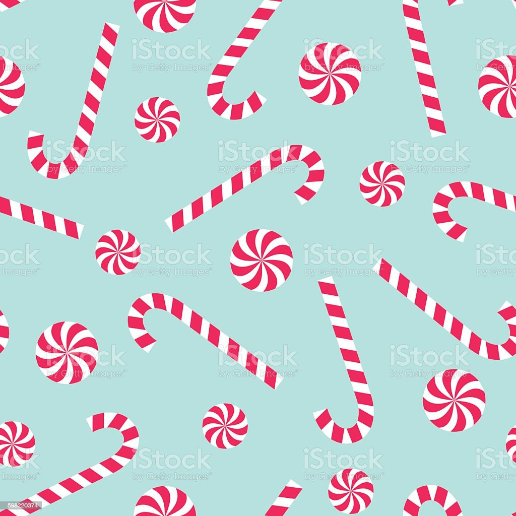 Candy cane and lollipop seamless christmas pattern vector art illustration