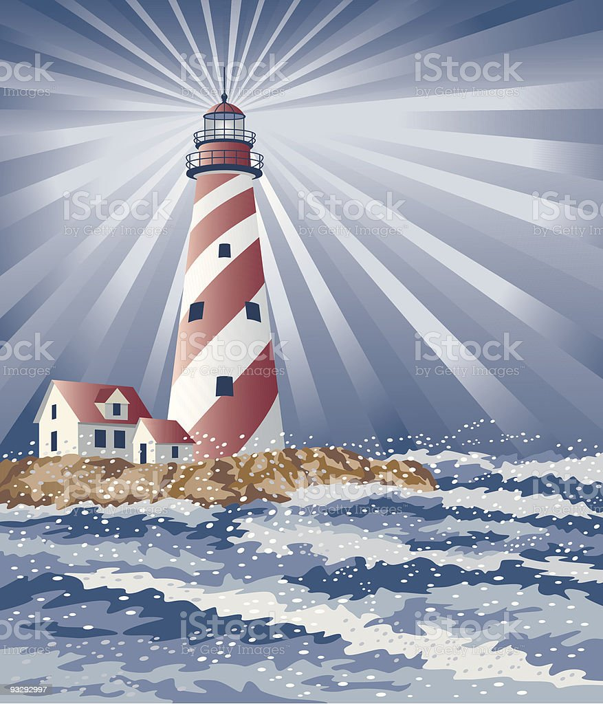 Candy Cane Lighthouse royalty-free stock vector art
