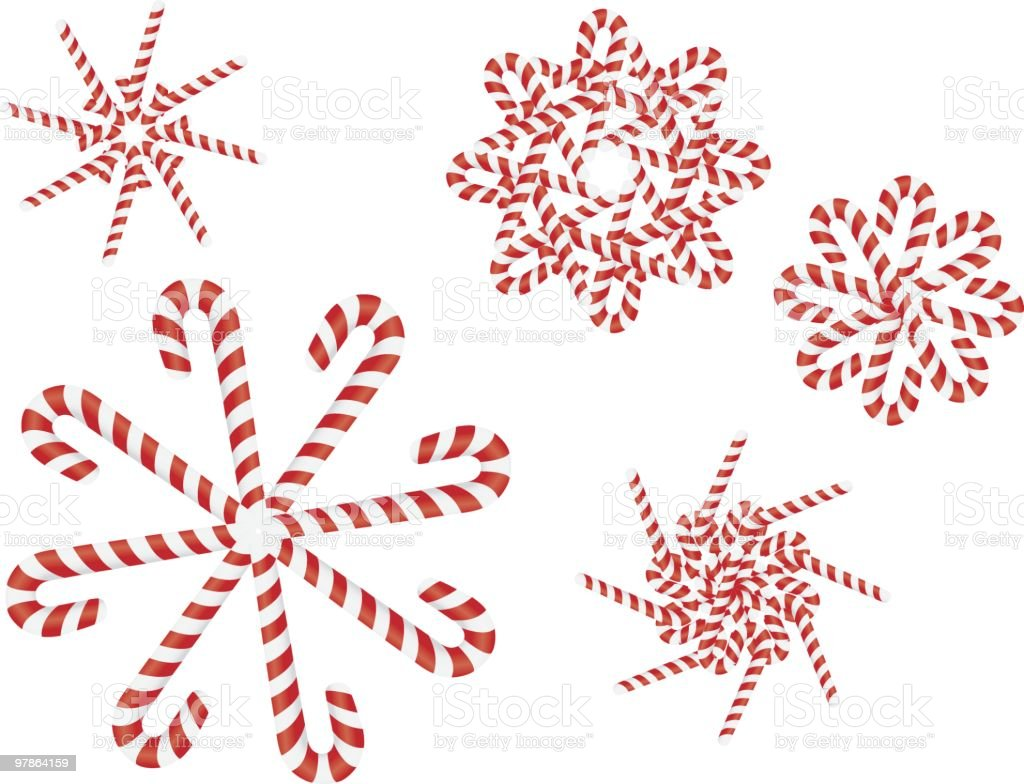 Candy Cane Snow Flakes royalty-free stock vector art