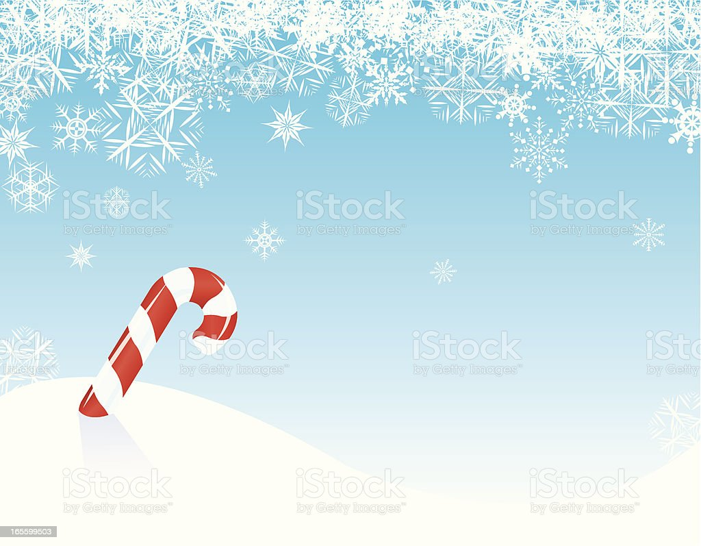 Candy Cane Winter with Snowflakes - background royalty-free stock vector art