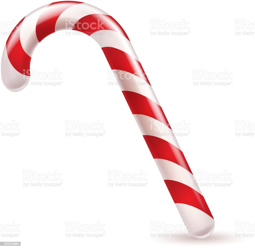 Candy cane with red and white stripes. vector art illustration
