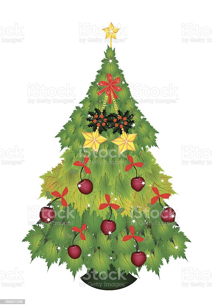 Candy Canes and Bow on Christmas Tree of Green Maple vector art illustration