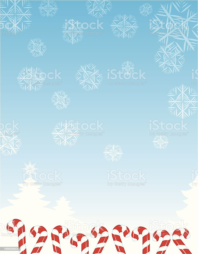 Candy Canes Dancing in the Snow - Christmas Background royalty-free stock vector art