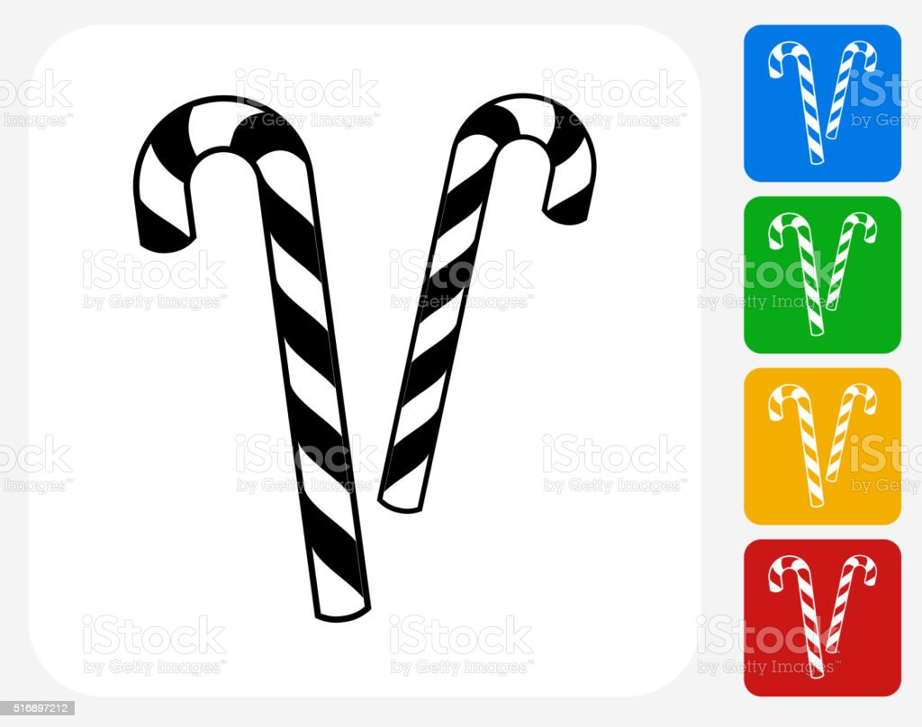 Candy Canes Icon Flat Graphic Design vector art illustration