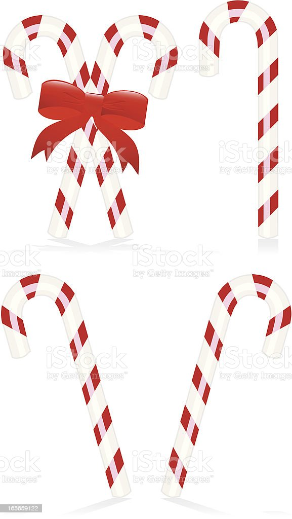 Candy Canes Set - Classic Red and White Stripes royalty-free stock vector art