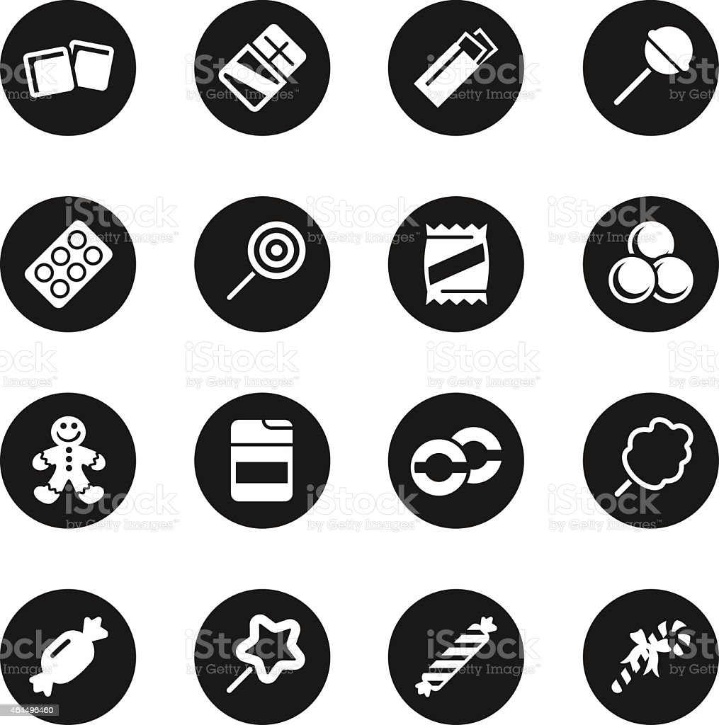 Candy Icons Set 1 - Black Circle Series vector art illustration