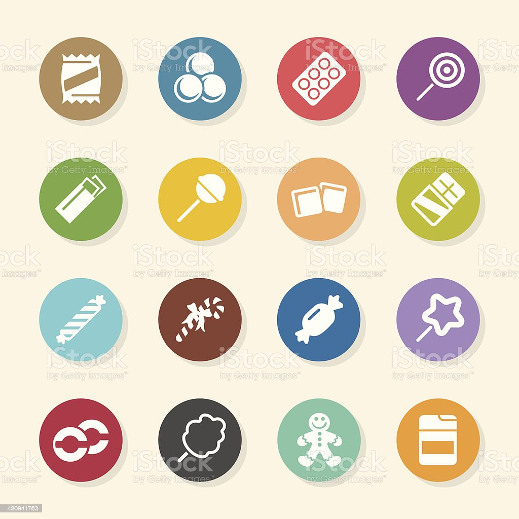 Candy Icons Set 1 - Color Circle Series vector art illustration