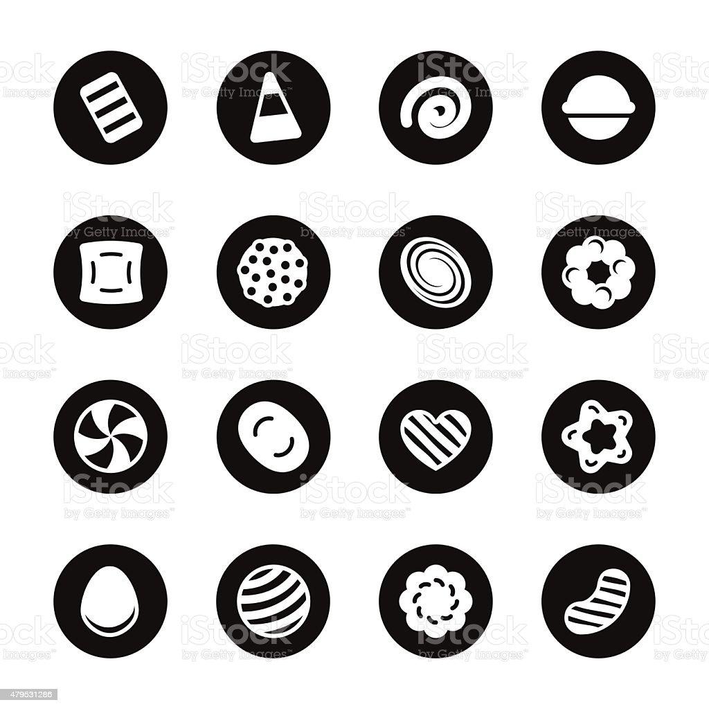 Candy Icons Set 2 - Black Circle Series vector art illustration
