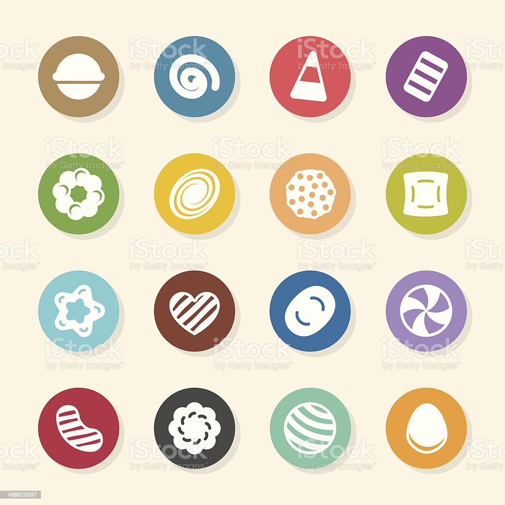 Candy Icons Set 2 - Color Circle Series vector art illustration