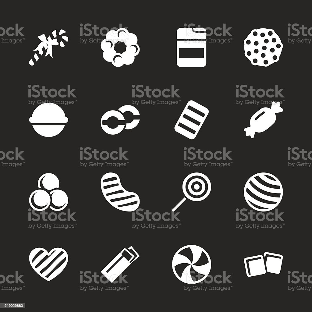 Candy Icons Set 4 - White Series vector art illustration