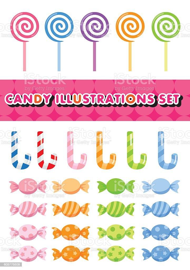 Candy illustrations set vector art illustration