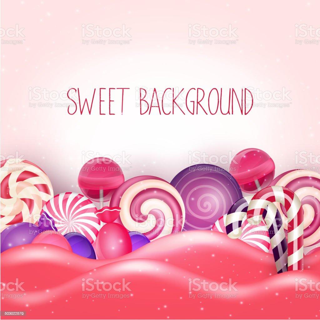 Candy of pink land background vector art illustration