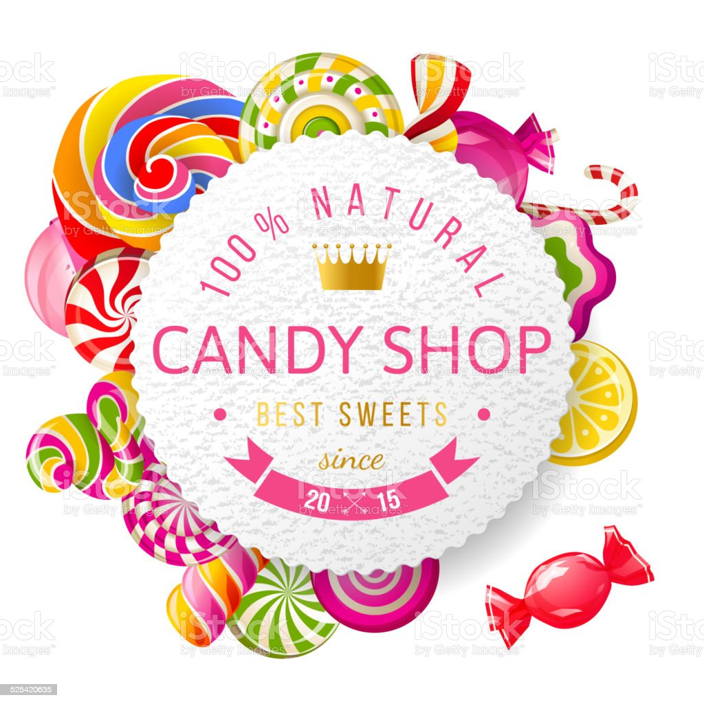 Candy shop label with type design vector art illustration