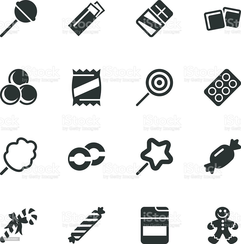 Candy Silhouette Icons vector art illustration