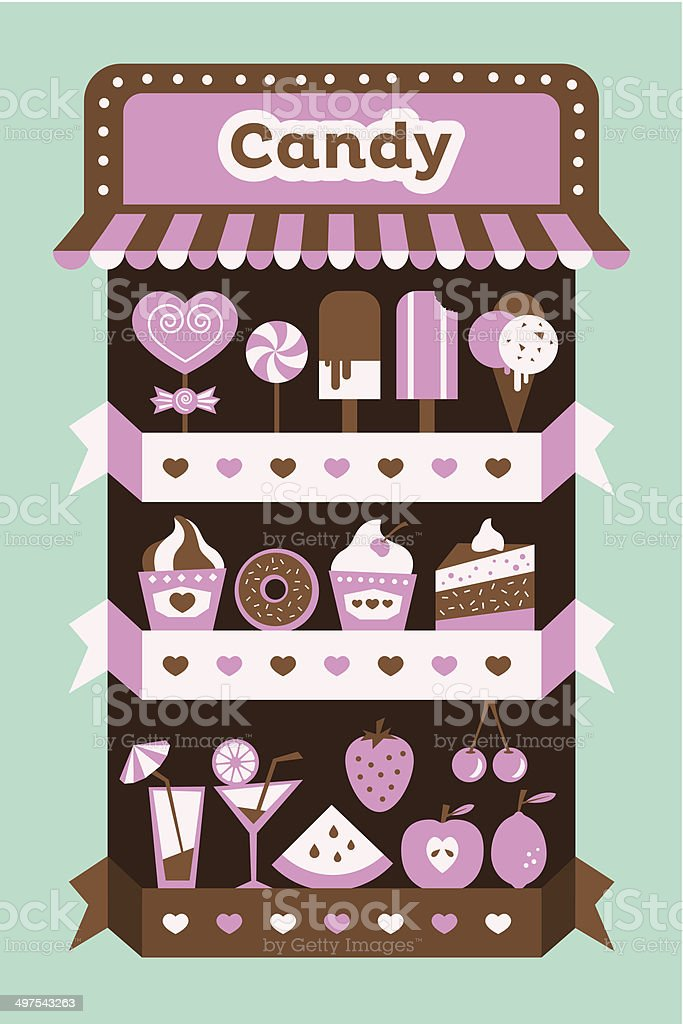 Candy stand vector art illustration