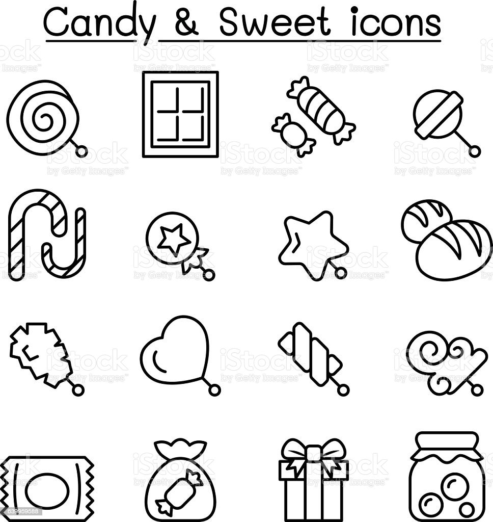 Candy & Sweet icon set in thin line style vector art illustration