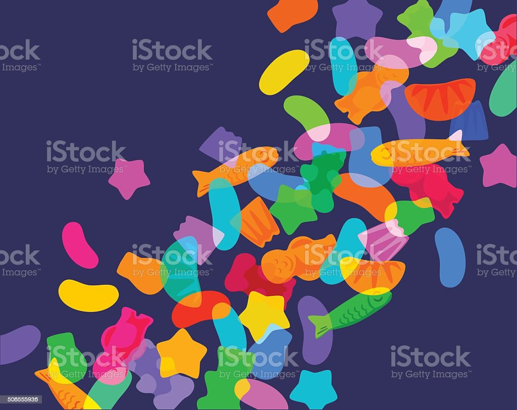 Candy Sweets and Jelly babies vector art illustration