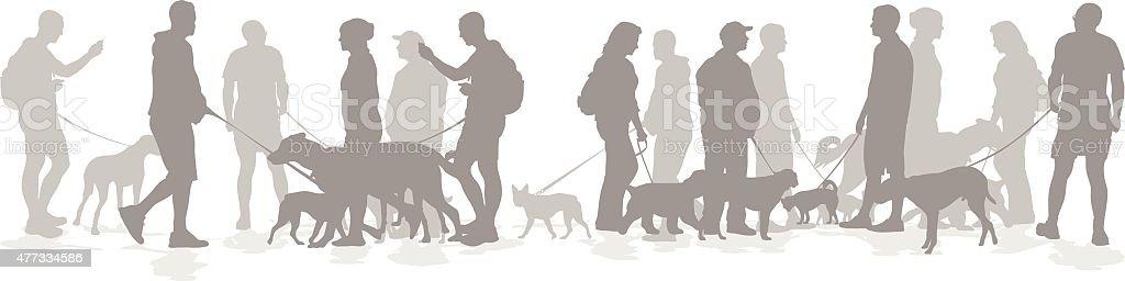 Canine Friends Tapistry vector art illustration