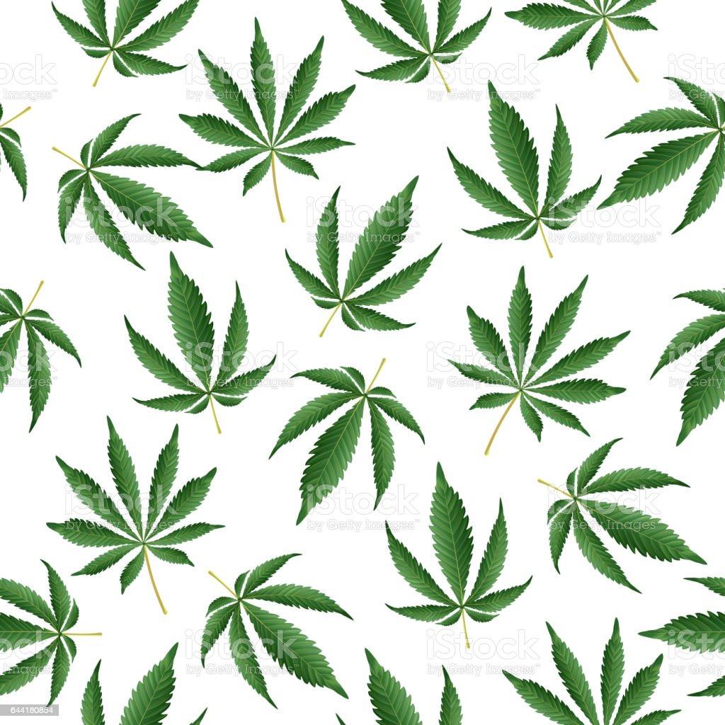 Cannabis Background. Vector Marijuana Seamless Pattern vector art illustration