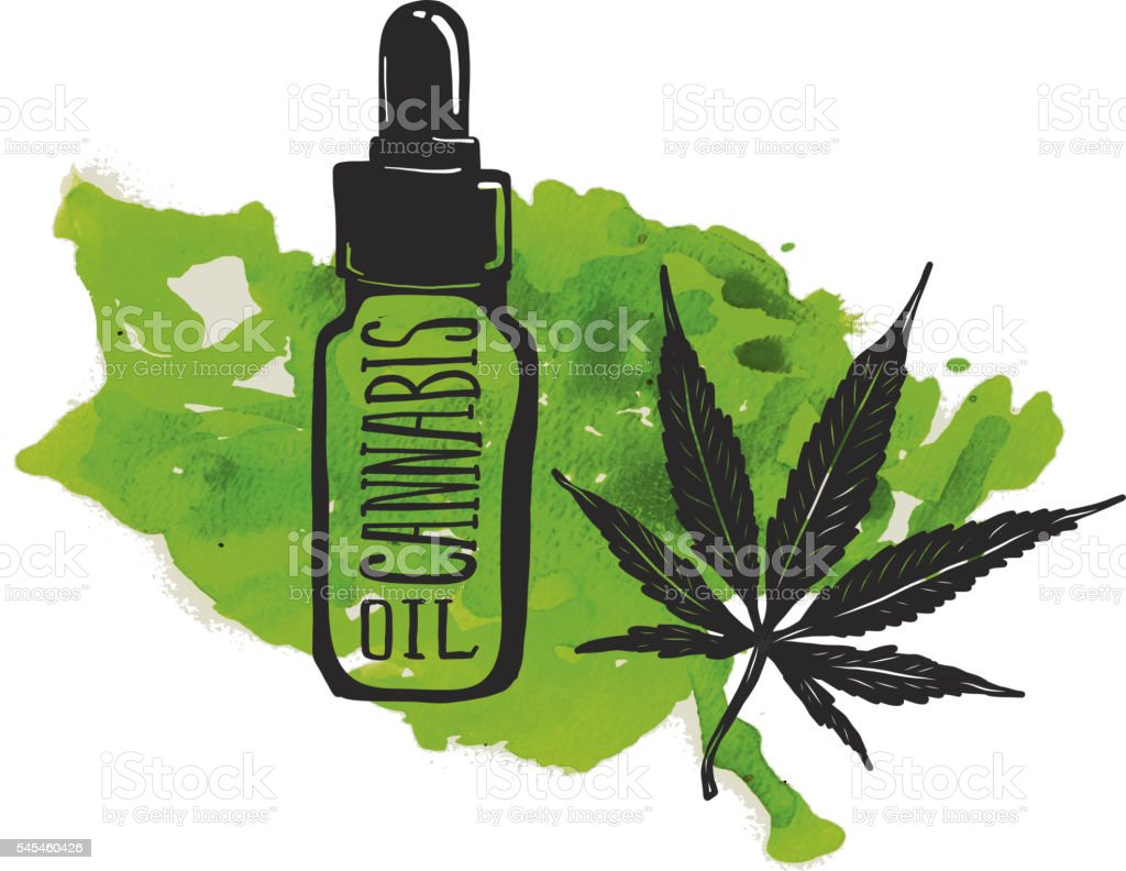 Cannabis oil label and bottle with marijuana leaf vector art illustration