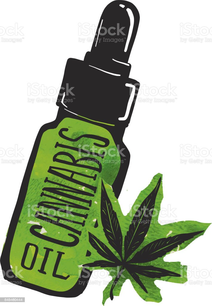 Cannabis oil label and bottle with marijuana leaf vector art illustration