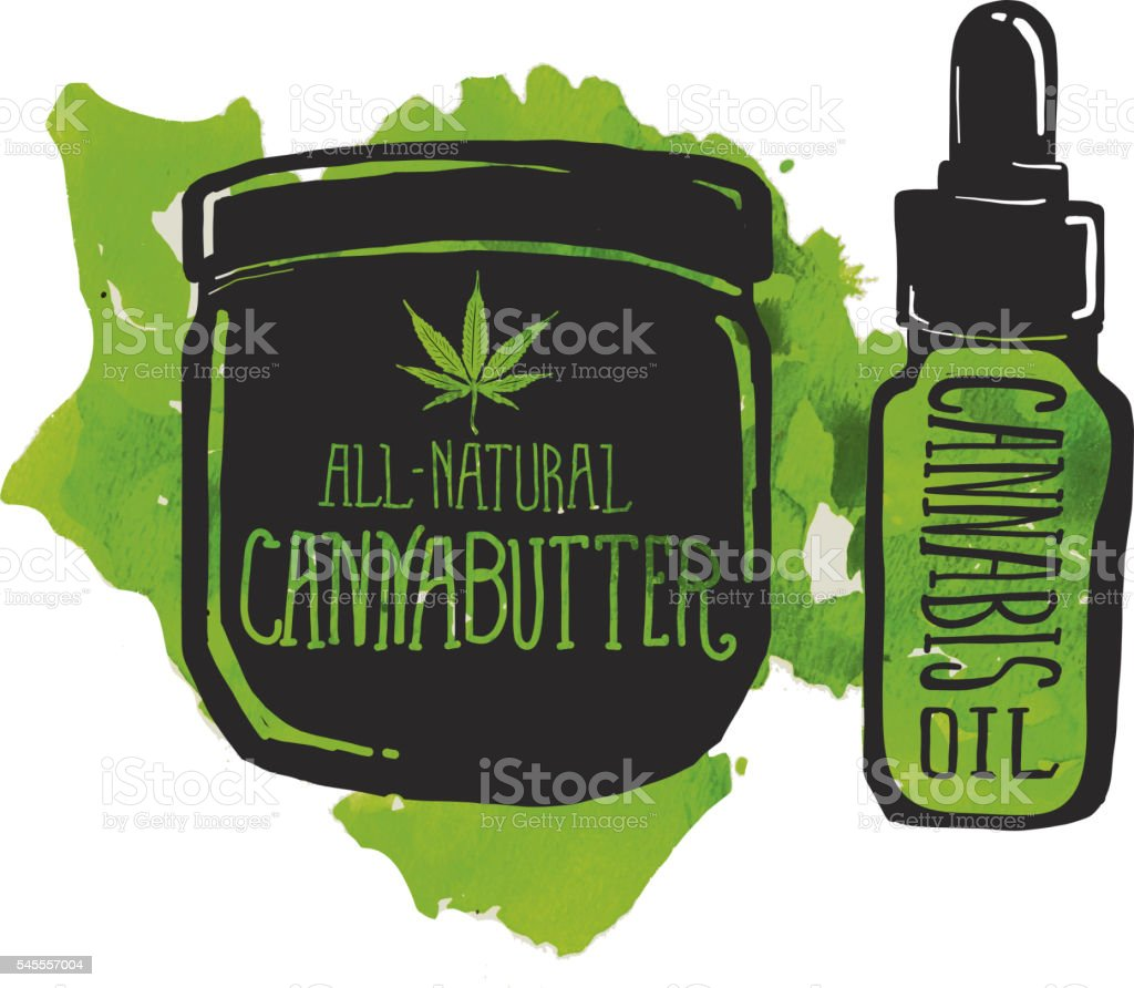 Cannabutter and cannabis oil label and bottle vector art illustration
