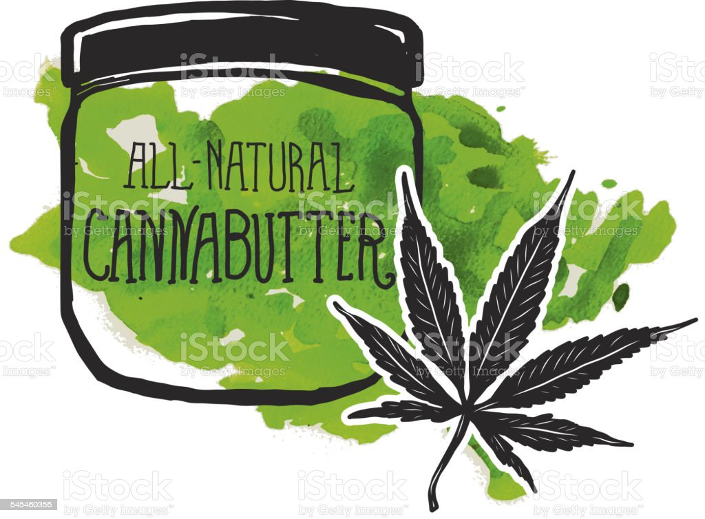Cannabutter label and jar with marijuana leaf vector art illustration