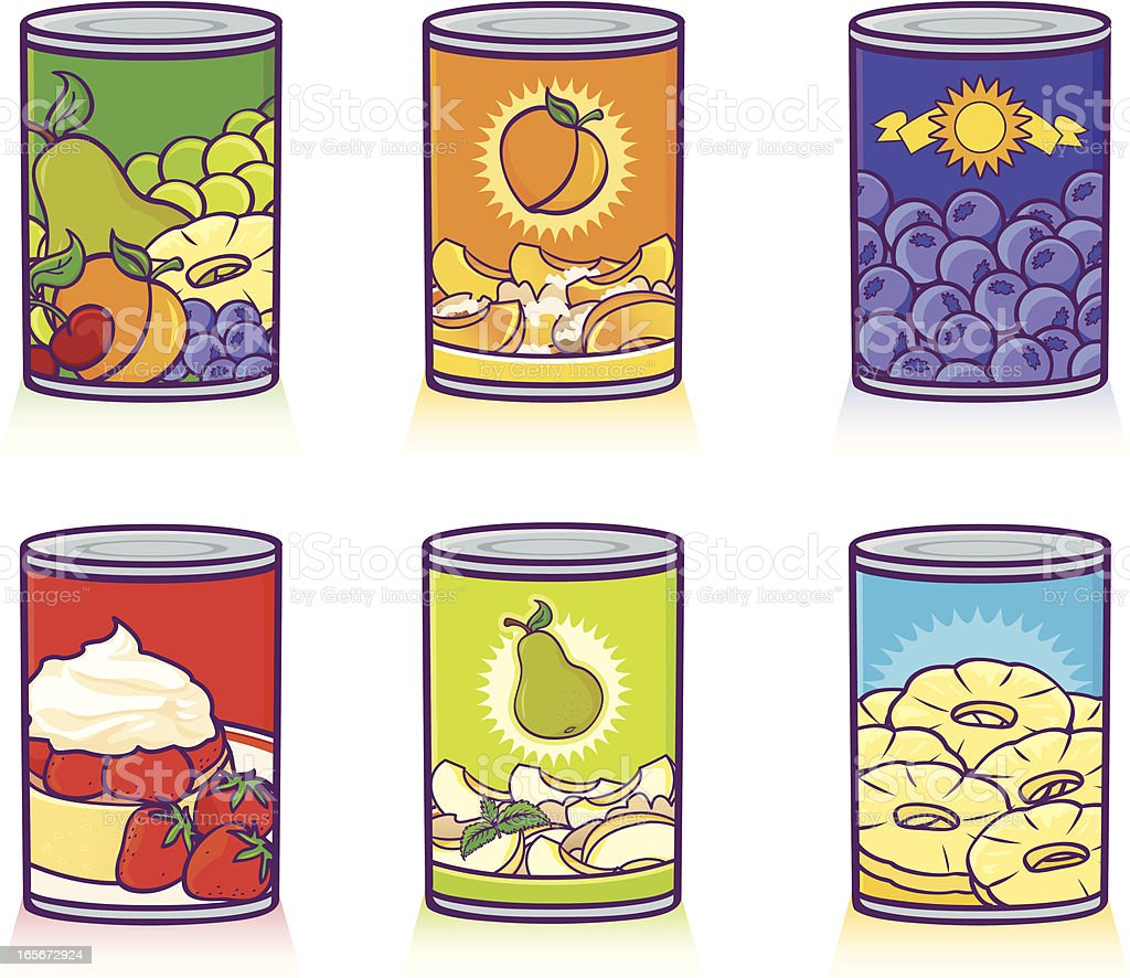 canned fruits vector art illustration