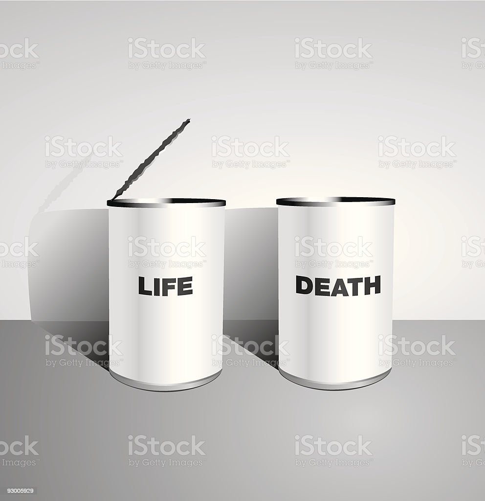 Canned Life and Death Juxtaposed royalty-free stock vector art