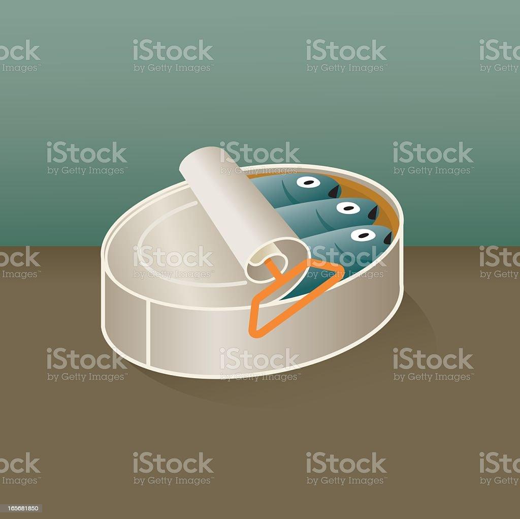 Canned sardines illustration vector art illustration