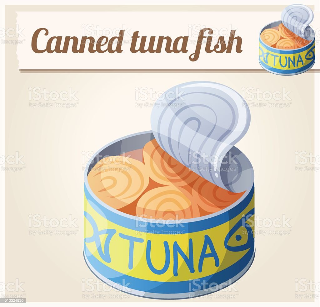 Canned tuna fish. Detailed Vector Icon vector art illustration